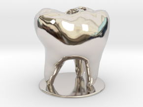 Tooth Toothbrush Holder in Rhodium Plated Brass