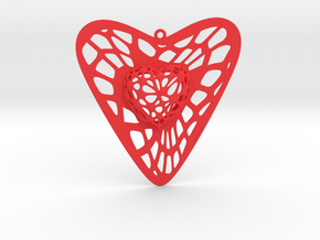 Voronoi Heart+Heart Earring (001) in Red Processed Versatile Plastic