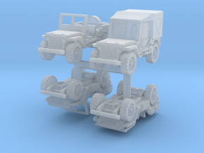 Jeep Willys set (x4) 1/220 in Smooth Fine Detail Plastic
