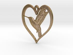 Hummingbird in Heart in Polished Gold Steel