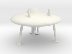 HO Scale Flying Saucer & Aliens in White Natural Versatile Plastic