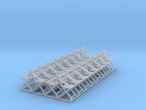 32 HO Scale folding deck chairs in open position in Smoothest Fine Detail Plastic