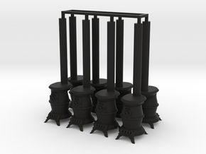 8 wood or coal pot-belly stoves  in Black Premium Versatile Plastic