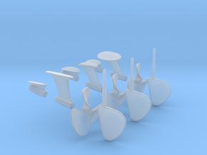 1/20 PT Elco Early Rudder-Prop-Shaft Strut Set002 in Smooth Fine Detail Plastic