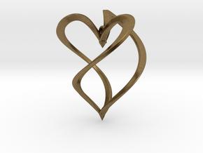 Earring heart in Natural Bronze