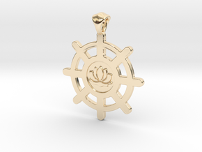 Buddhist Pendant - Double-Sided. in 14K Yellow Gold