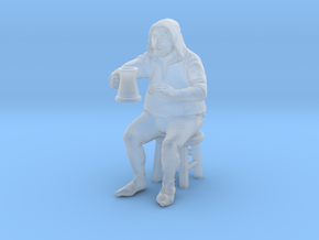 Bar patron, seated on stool. 1:48, 28/32mm scale. in Smooth Fine Detail Plastic