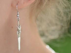 Blades of the Fallen Prince earrings in Natural Silver