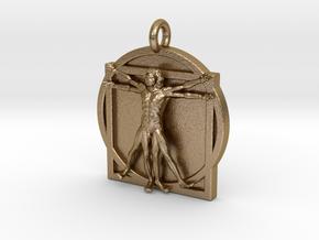 Vitruvian Man pendant 2_fixed in Polished Gold Steel