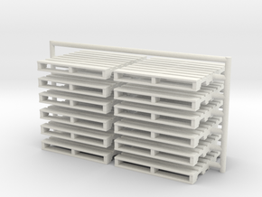 12 wood Pallets HO scale in White Natural Versatile Plastic