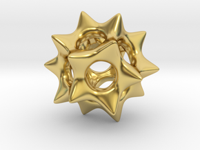 Dodecahedron Pendant Type A in Polished Brass: Small