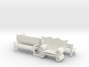 O Scale Benches in White Natural Versatile Plastic