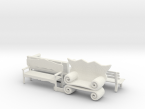 S Scale Benches in White Natural Versatile Plastic