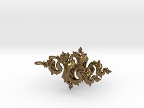 Dragon Earrings 4cm in Polished Bronze