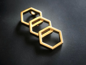 Triple Honeycomb Pendant by BeeLove in Polished Brass