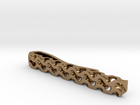 Gyroid Tie Bar in Natural Brass