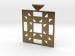 Amish Star Quilt Block Pendant in Natural Bronze