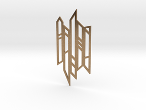 Abstract Fence Pendant in Natural Brass