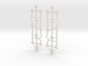 Electrical Circuit Earrings in White Natural Versatile Plastic