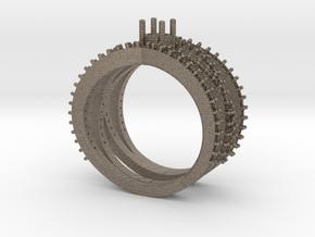 Spiral Ring with Gemstone in Matte Bronzed-Silver Steel: 8 / 56.75