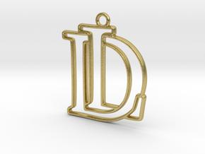 D&L Monogram Pendant in Natural Brass