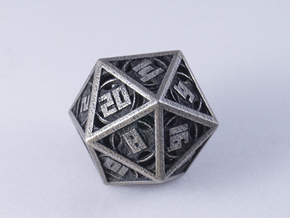 The Goliath - Huge D20  in Polished Bronzed-Silver Steel