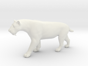 Smilodon Saber-Toothed Cat 1/12 Scale Model  in White Natural Versatile Plastic