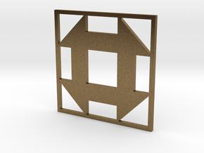 Churn Dash Quilt Block Pendant in Natural Bronze