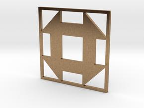 Churn Dash Quilt Block Pendant in Natural Brass