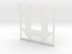 Churn Dash Quilt Block Pendant in Smooth Fine Detail Plastic