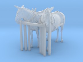 HO Scale Mule Team in Smooth Fine Detail Plastic