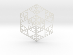 Sierpinski 6 Sided Pyramid in White Natural Versatile Plastic