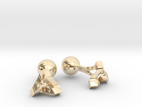 Penrose Triangle Cufflinks in 14K Yellow Gold