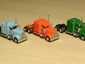 1:160 N Scale Kenworth W900L Tractor x2 in Smooth Fine Detail Plastic