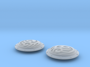 10x Tribal Swirl - Round Power Shields (L&R) in Smooth Fine Detail Plastic: Small