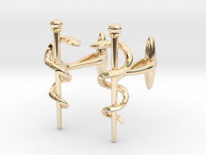 Snake rod cufflinks (medicine) in 14K Yellow Gold