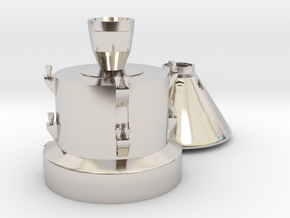 Orion capsule and booster stage in Rhodium Plated Brass