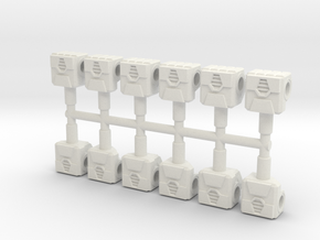 Robot Fists, 3mm in White Natural Versatile Plastic
