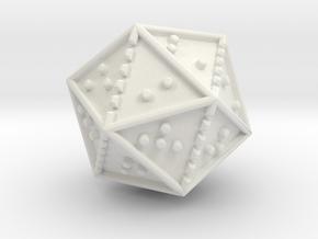 Braille Twenty-sided Die d20 in White Natural Versatile Plastic