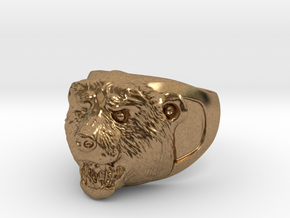 Grizzly bear ring in Natural Brass