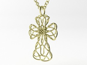 Celtic Cross Pendant, v.2 - Christian Jewelry in 14k Gold Plated Brass