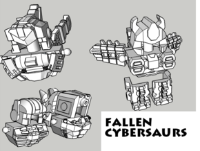 Fallen Cybersaurs (Ptero, Bronto, Stego, Tricer) in White Natural Versatile Plastic