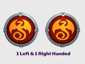 Void Drakes - Round Power Shields (L&R) in Smooth Fine Detail Plastic: Small