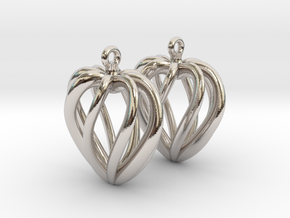 Heart Cage Earrings in Platinum