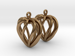 Heart Cage Earrings in Natural Brass