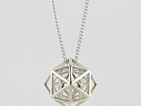Faceted Icosa Pendant in Polished Silver