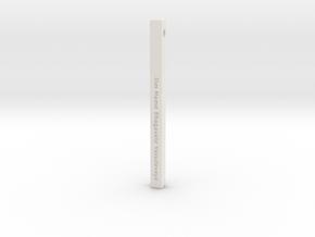 "Vertical Bar Pendant ""Om Namo Bhagavate"" in White Natural Versatile Plastic"