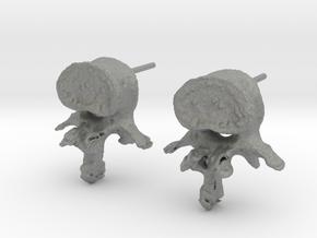 Garden Gnome's L-3 Lumbar Vertebra Earstuds in Gray PA12