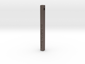 "Vertical Bar Customized Pendant ""Be Bold Be Brave"" in Polished Bronzed-Silver Steel"