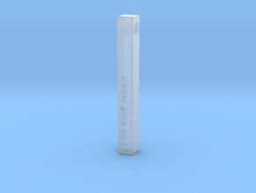 "Vertical Bar Pendant ""Never give up"" in Smooth Fine Detail Plastic"
